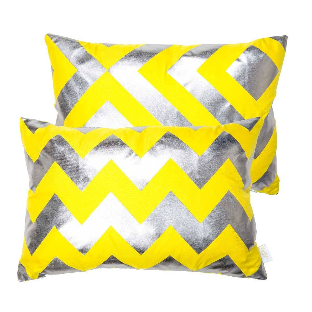 Happy Cushion- Silk Metallic rectangular cushion in Yellow & Gunmetal with Chevron Design & Geometric reverse | Penelope Hope