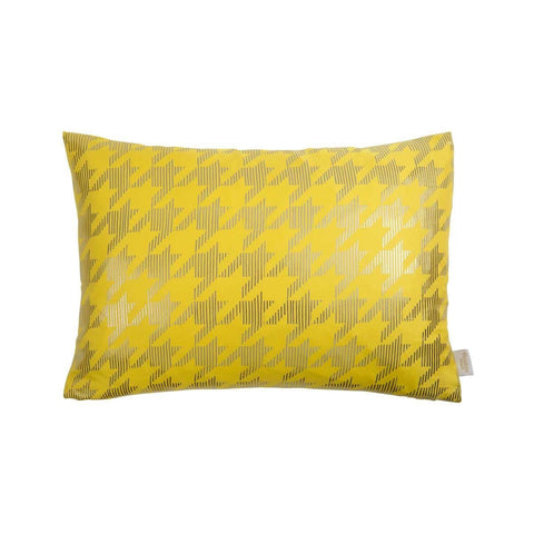 Lucky Cushion- Silk metallic rectangular cushion in Yellow & Gunmetal with Dogtooth Design to front | Penelope Hope