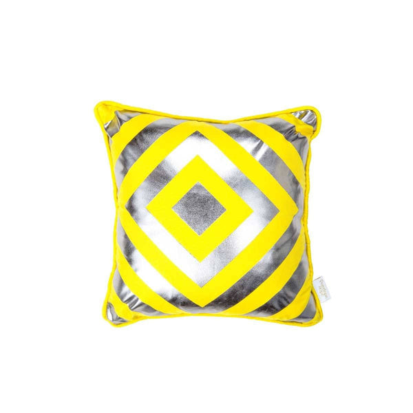 Hope Cushion- Silk metallic cushion in yellow & gunmetal with geometric diamond print (view of front) | Penelope Hope