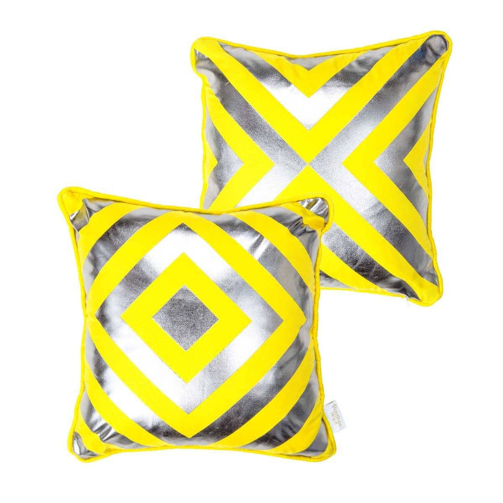 Hope Cushion- Silk metallic cushion in yellow & gunmetal with geometric diamond print | Penelope Hope