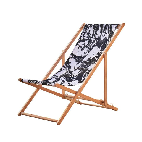Garden or Beach Deckchair in Mono Marble by Penelope Hope