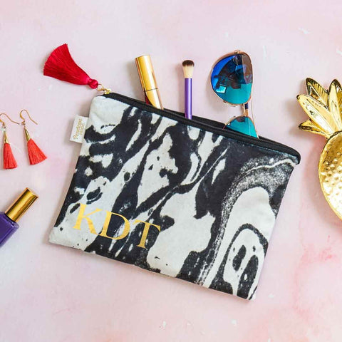Personalised Initial Mono Marble Velvet Pouch by Penelope Hope