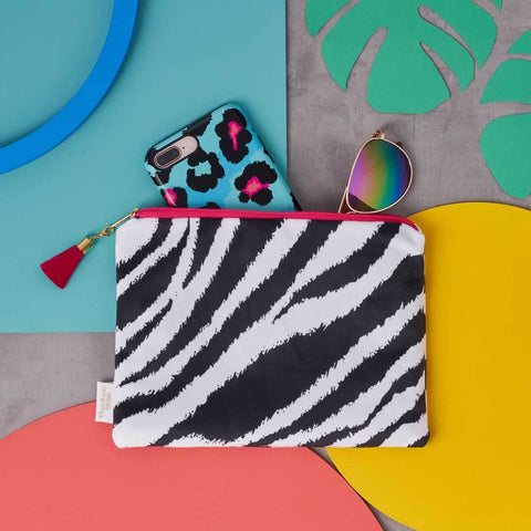 Black and White Zebra Print Cotton Pouch by Penelope Hope