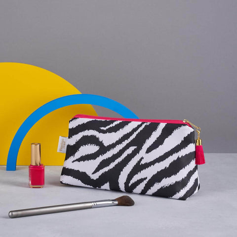 Black and White Zebra Print Makeup Bag