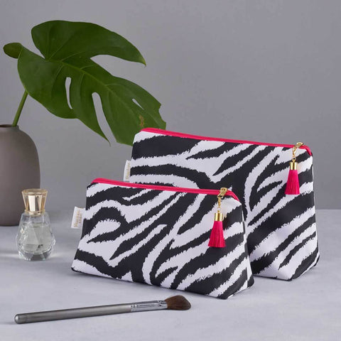 Mono Zebra Print 'Weekend Away' Wash Bag