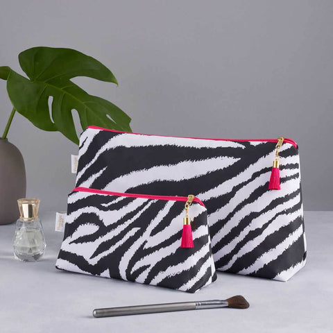 Black and White Zebra Print Wash Bag Set