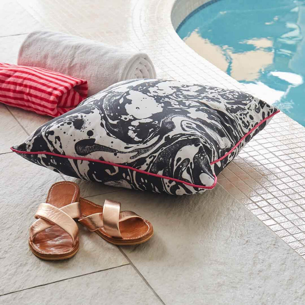 Outdoor Cushion in Mono Marble by Penelope Hope
