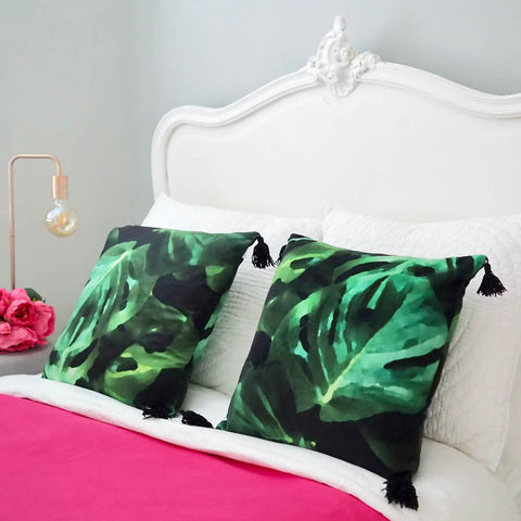 Cheese Plant Velvet Cushions with Black Tassels by Penelope Hope