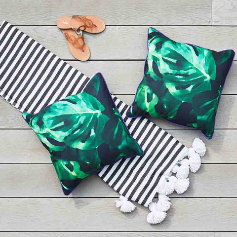 Outdoor Cushions in Monstera Leaf Print by Penelope Hope