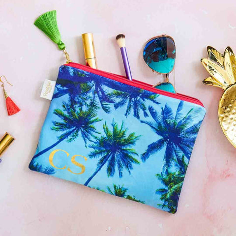 Personalised Palm Sky Blue Velvet Pouch or Clutch Bag by Penelope Hope