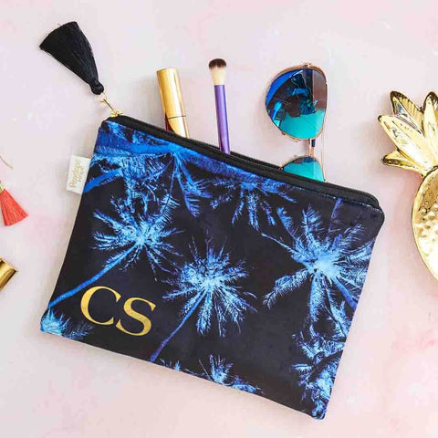 Personalised Palm Sky Midnight Velvet Pouch by Penelope Hope