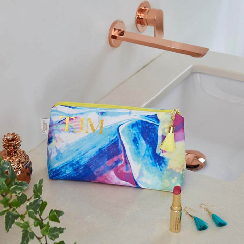 Personalised Waterproof Makeup Bag in Bon Voyage print by Penelope Hope