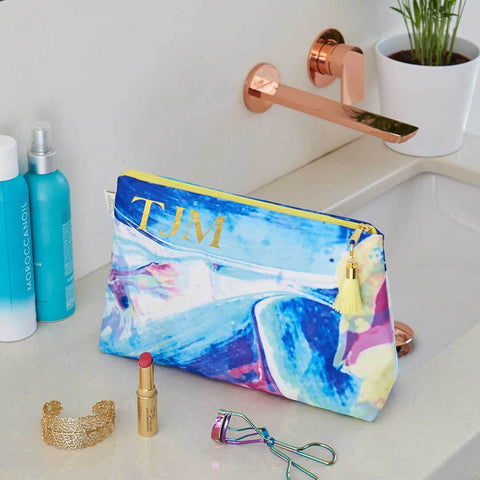 Personalised Waterproof Medium Wash Bag with Yellow Tassel by Penelope Hope