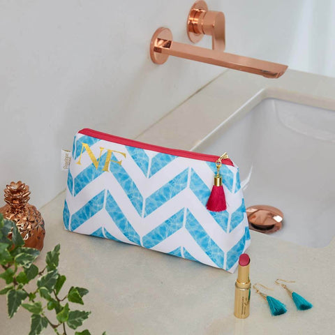 Personalised Blue Chevron Print Waterproof Makeup Bag by Penelope Hope