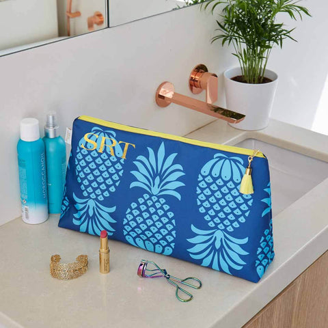 Personalised Blue Pineapple Waterproof Large Wash Bag by Penelope Hope