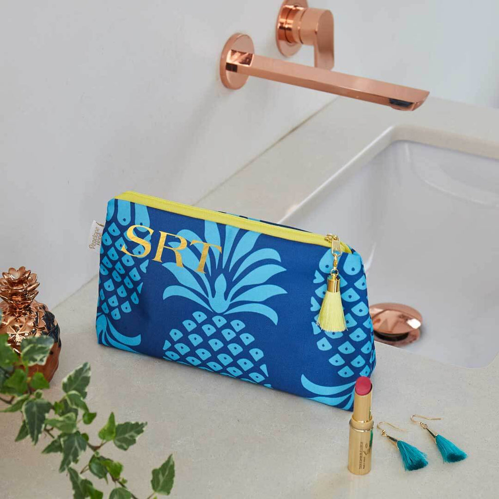 Personalised Blue Pineapple Waterproof Makeup Bag by Penelope Hope