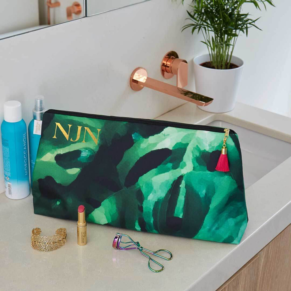 Personalised Monstera Leaf Waterproof Large Wash Bag by Penelope Hope