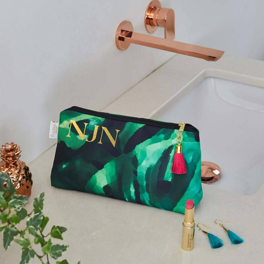 Personalised Monstera Leaf Waterproof Makeup Bag by Penelope Hope
