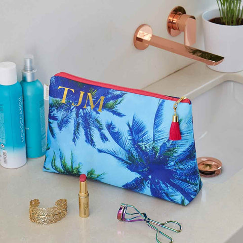Personalised Palm Sky Blue Medium Wash Bag by Penelope Hope