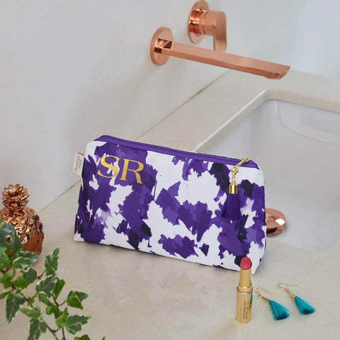 Personalised Purple and White Waterproof Makeup Bag by Penelope Hope