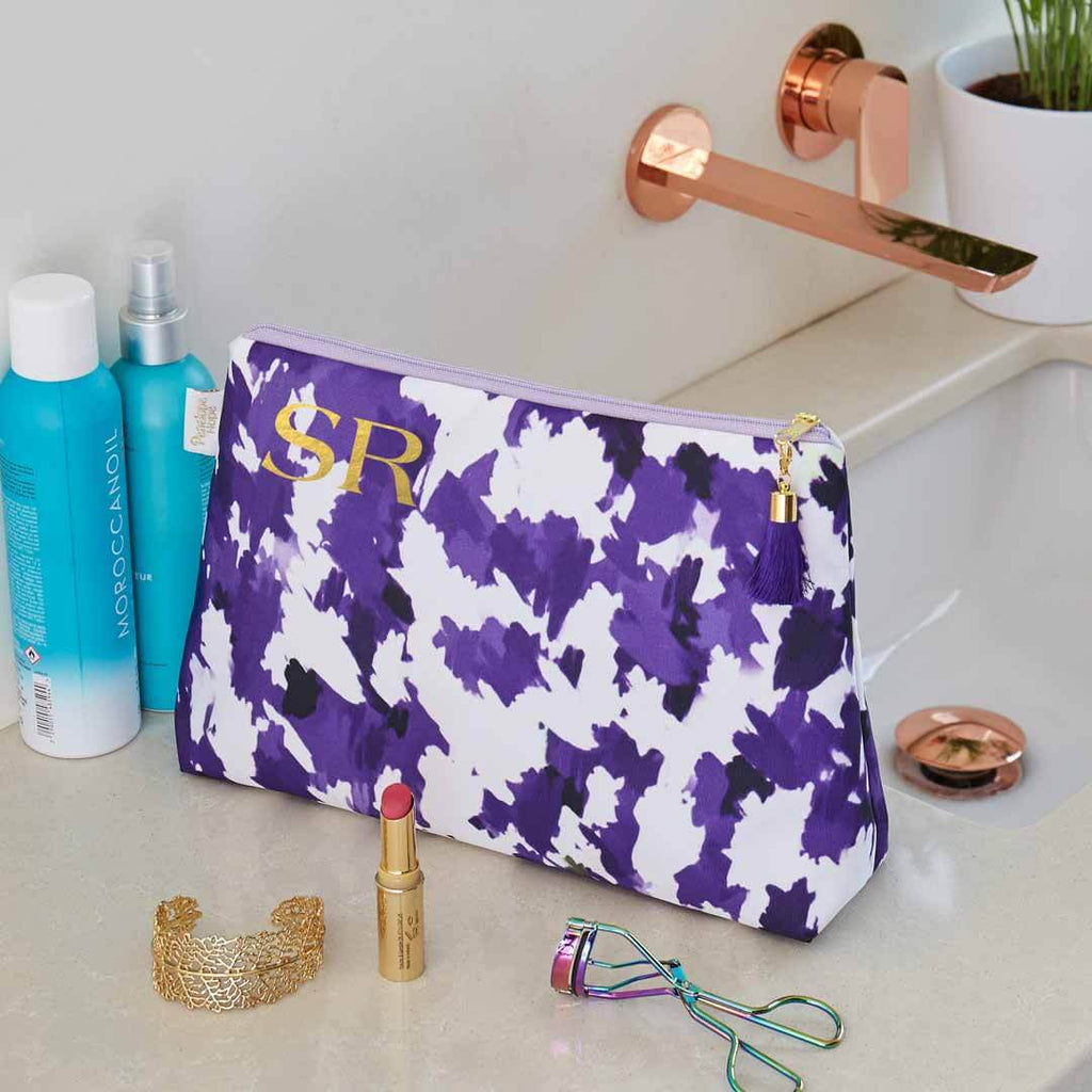 Personalised Purple and White Medium Waterproof Wash Bag by Penelope Hope