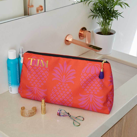 Personalised Red and Purple Pineapple Waterproof Large Wash Bag by Penelope Hope