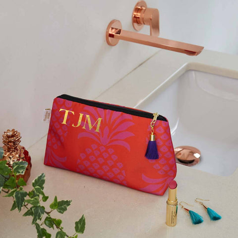 Personalised Red and Purple Waterproof Makeup Bag by Penelope Hope
