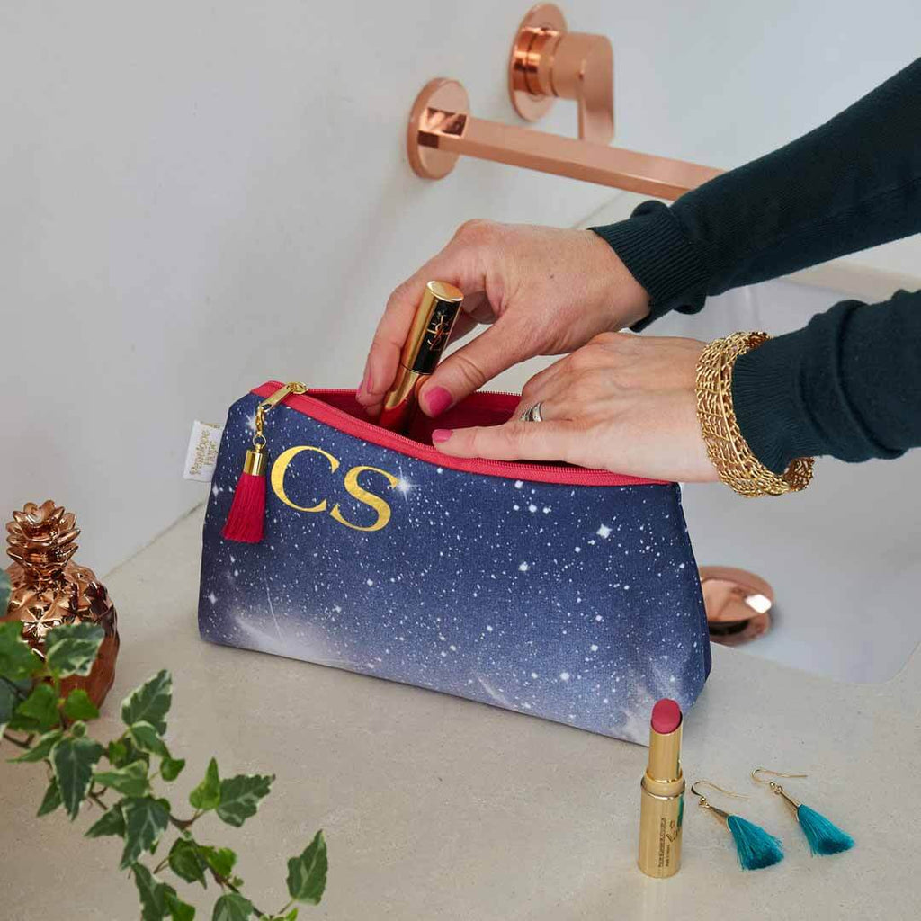 Personalised Cosmic Sky Makeup Bag with Pink Lining by Penelope Hope