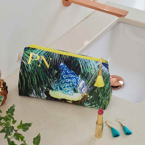 Personalised Picking Coconuts Tropical Waterproof Makeup Bag by Penelope Hope