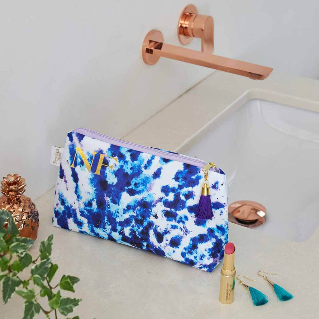 Personalised Mesmerise Blue Waterproof Makeup Bag by Penelope Hope