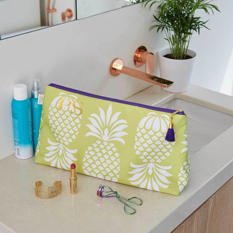 Personalised Yellow Pineapple Waterproof Large Wash Bag by Penelope Hope