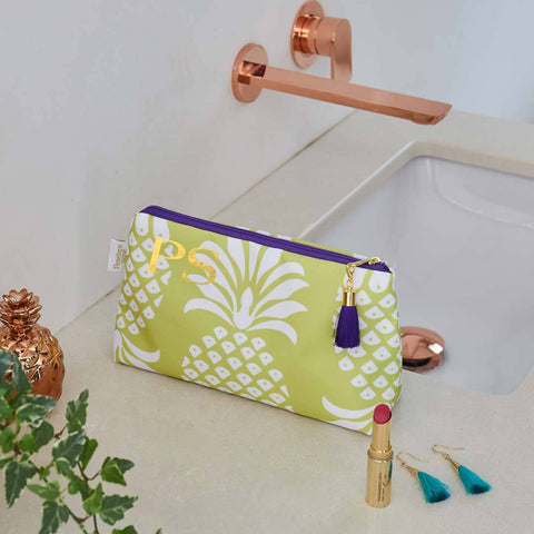 Personalised Yellow Pineapple Waterproof Makeup Bag by Penelope Hope