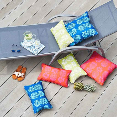 Pineapple Outdoor Cushions in Blue, Yellow and Red by Penelope Hope