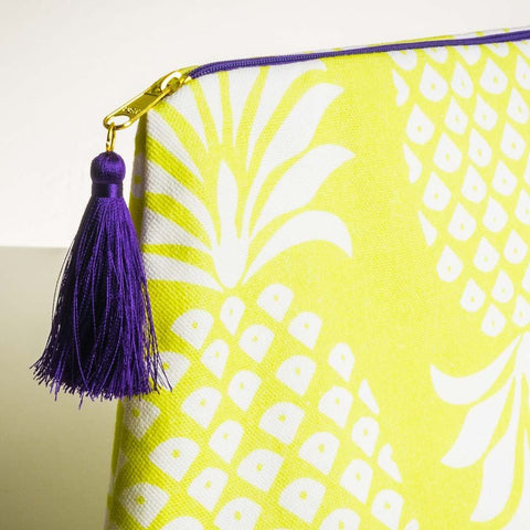 Detail of Pina Colada Chartreuse Large Wash Bag | Penelope Hope