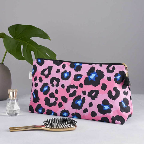 Coral Leopard Print 'Big Trip' Wash Bag