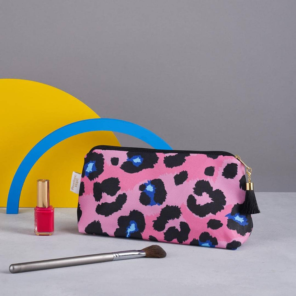 Coral Leopard Print Makeup Bag