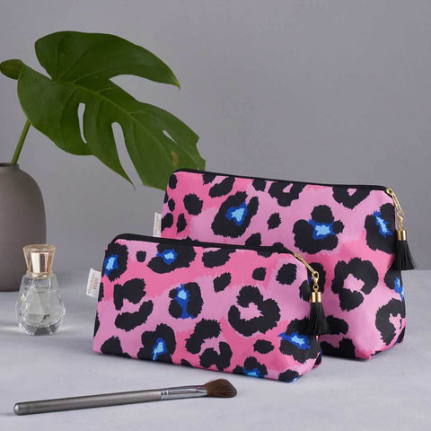 Pink Leopard Print Wash and Makeup Bag set