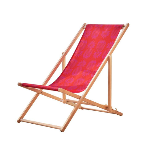Beach Deckchair in Red Pineapple by Penelope Hope