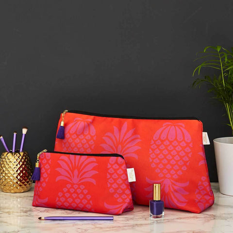 Red and Purple Wash and Makeup Bag Set by Penelope Hope