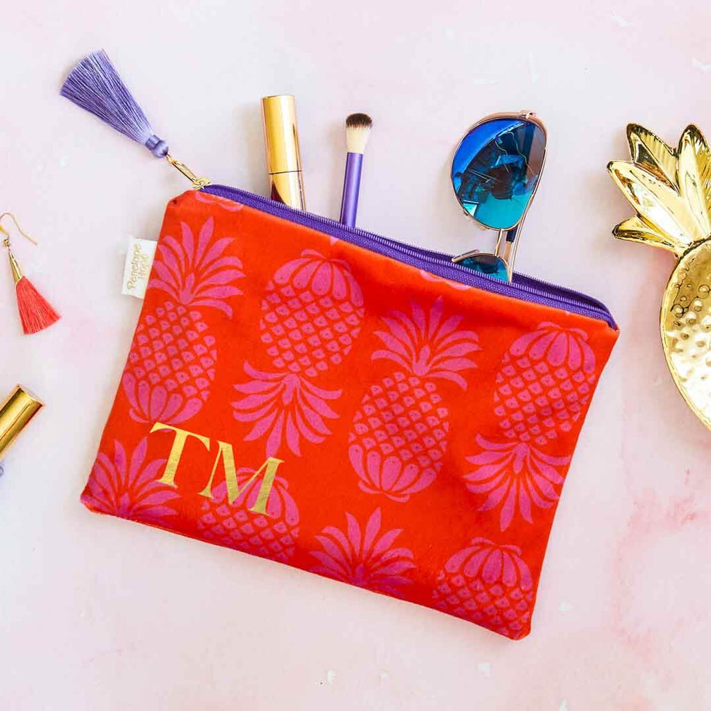 Personalised Colourful Pineapple Velvet Pouch by Penelope Hope