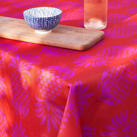 Outdoor Fabric Tablecloth in Pina Colada Red Mix Pineapple Design by Penelope Hope