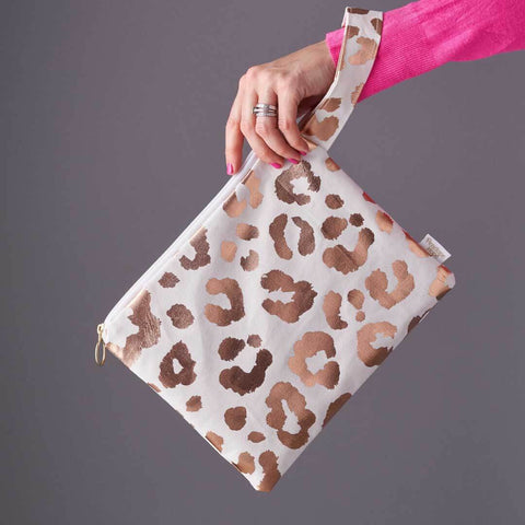 White and Rose Gold Leopard Print Clutch Bag with wrist strap