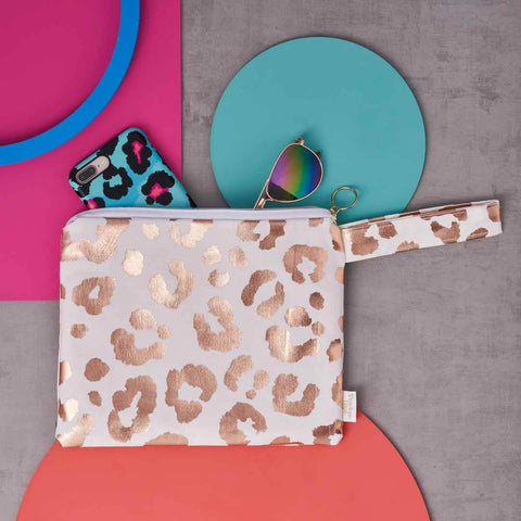 Rose Gold Leopard Print Clutch Bag in White
