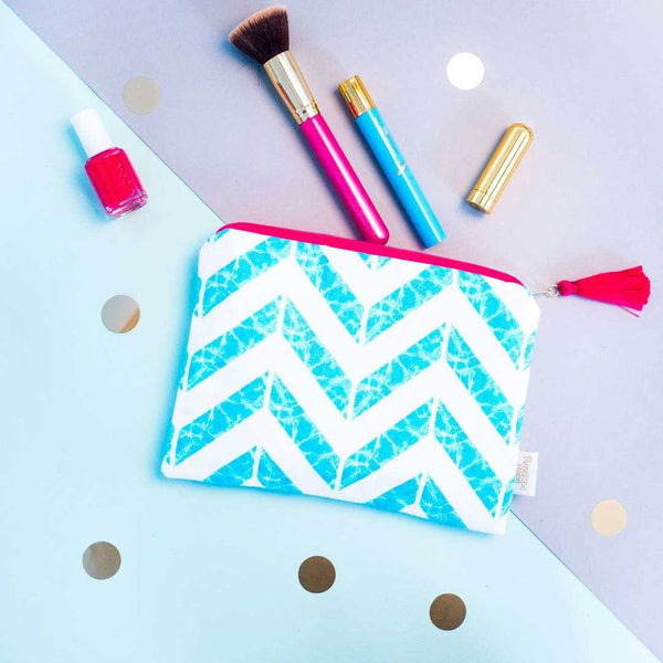 Chevron Aqua Pouch by Penelope Hope