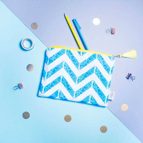 Chevron Pool Blue Pouch | Penelope Hope