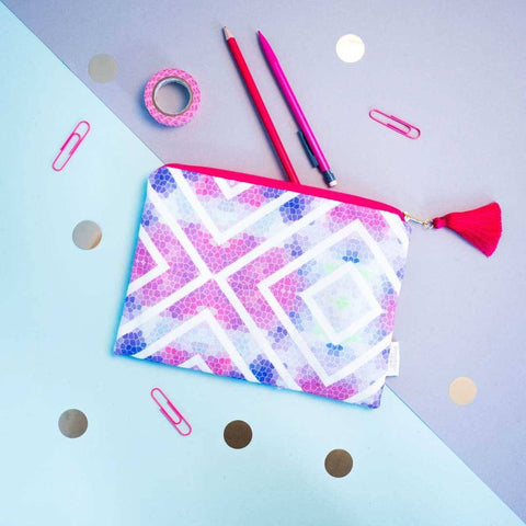 Geometric Zip Pouch Pink Purple | Penelope Hope