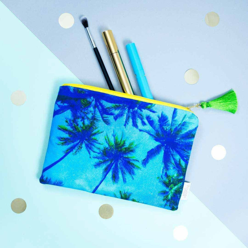 Palm Tree Blue Pouch by Penelope Hope