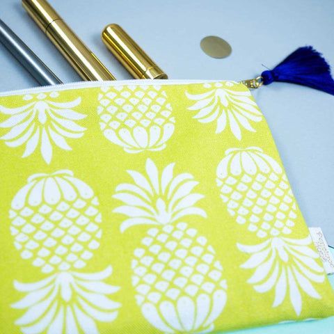 Detail of Pineapple Charteuse Pouch by Penelope Hope