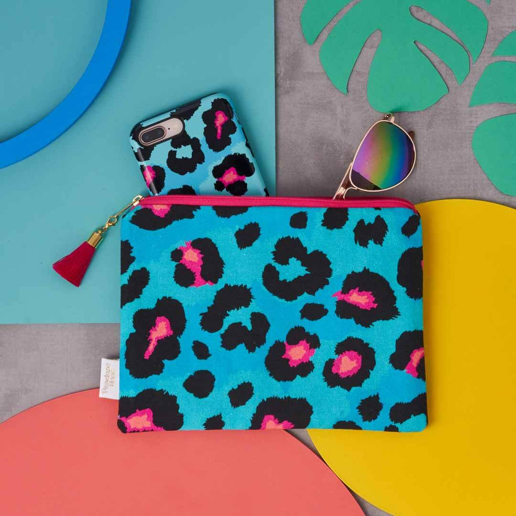 Teal Leopard Print Pouch in cotton by Penelope Hope