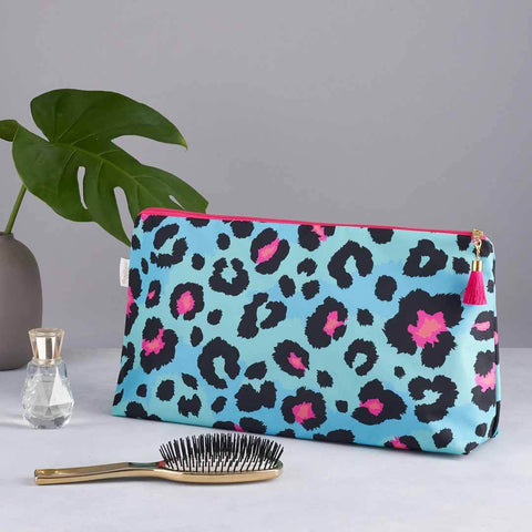 Teal Leopard Print Large Wash Bag